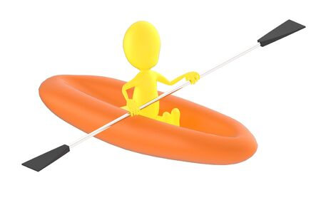3d yellow character , rowing a boat - 3d rendering