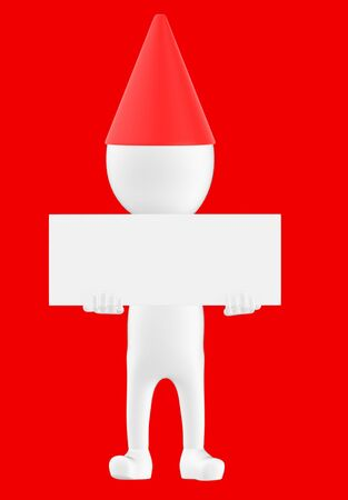 3d white character wearing a cone cap and holding a white empty board -red background- 3d rendering