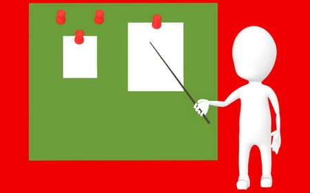 3d white character holding a stick and pointing it towards a green board with pinned papers -red background- 3d rendering Stock Photo