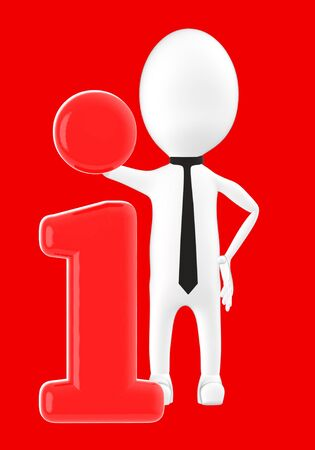 3d white character leaning on information icon -red background- 3d rendering