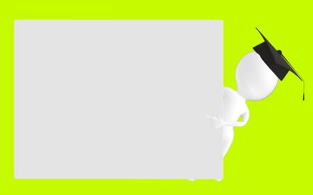 3d white character , graduated character pointing his hands towards a empty board -green background- 3d rendering