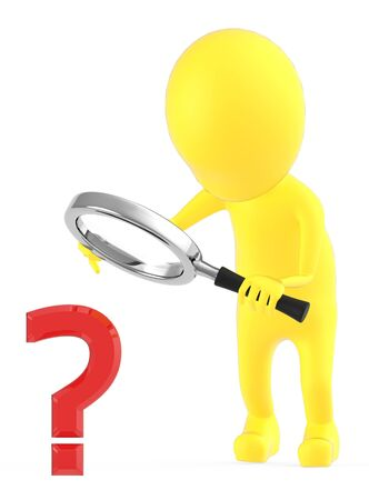 3d yellow character examining a question mark sign through a magnifier which the character is holding on his hands - 3d rendering