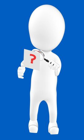 3d white character examining a question mark using a maginifier -blue background- 3d rendering
