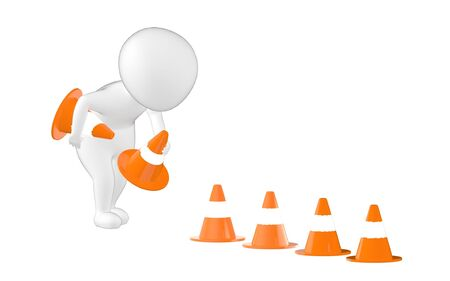 3d character , man putting in traffic cones- 3d rendering Imagens - 134047866