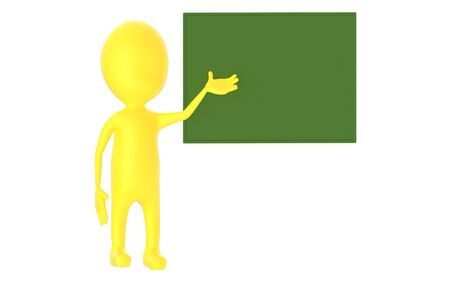 3d yellow character , explaing,blank board - 3d rendering