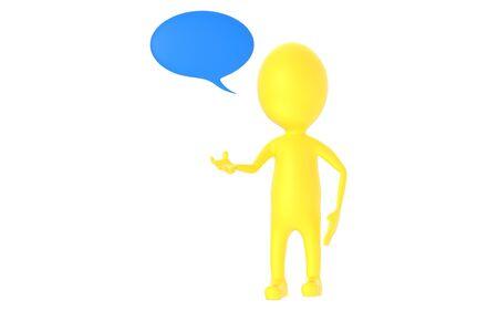 3d yellow character, speech bubble - 3d rendering