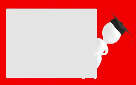 3d white character , graduated character pointing his hands towards a empty board -red background- 3d rendering