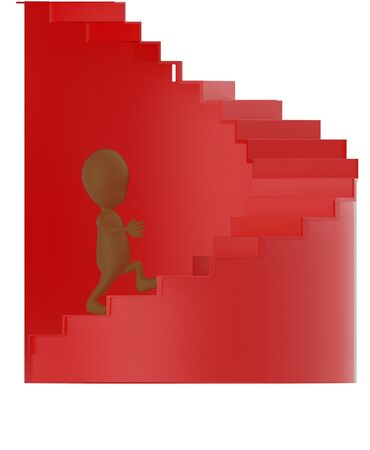 3d brown character walking up on spiral stairs - 3d rendering