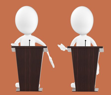 3d white character , character in a podium -brown background- 3d rendering