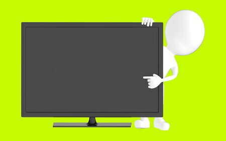 3d white character , pointing his hand towards television screen -green background- 3d rendering