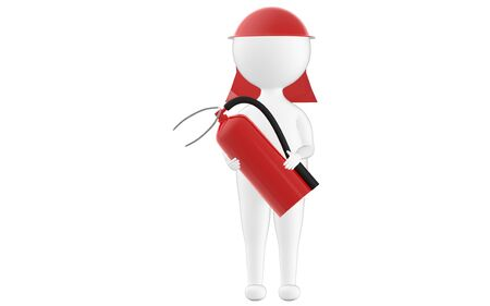 3d character , man wearing safety cap and holding a fire extinguisher- 3d rendering