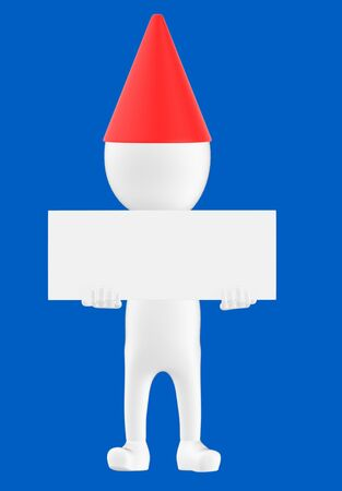 3d white character wearing a cone cap and holding a white empty board -blue background- 3d rendering