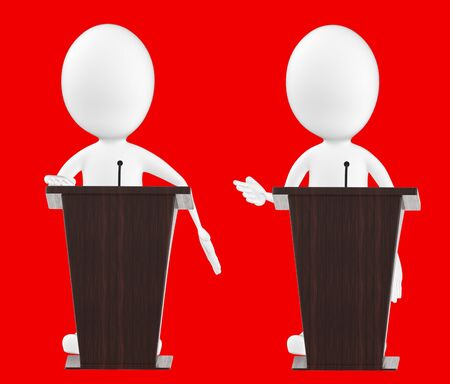3d white character , character in a podium -red background- 3d rendering