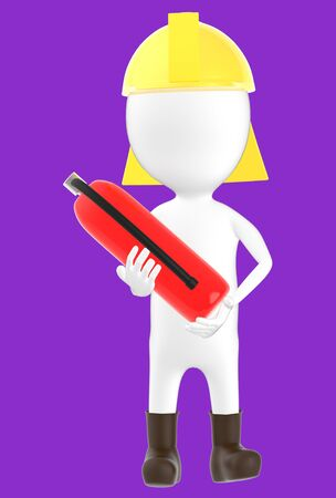 3d white character wearing a safety helmet and holding a fire extinguisher in hand -purple background- 3d rendering