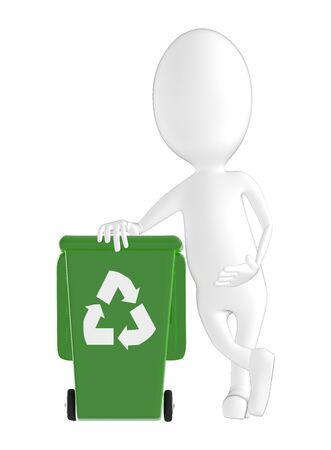 3d character , man recycle bin- 3d rendering Фото со стока