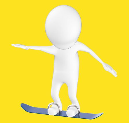 3d white character , snow skating -yellow background- 3d rendering