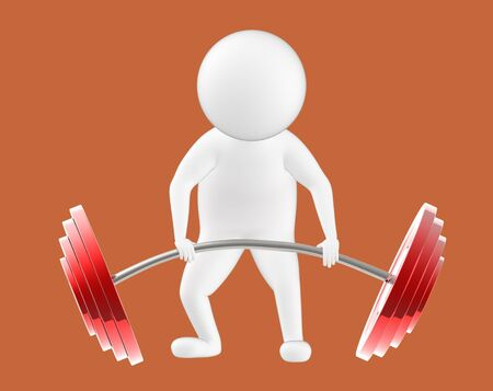 3d character , man is about to lift weights- brown  background - 3d rendering Stock fotó - 134048543
