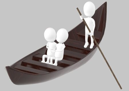 3d white character , couples on boat , while another characer rowing the boat -grey background- 3d rendering 스톡 콘텐츠