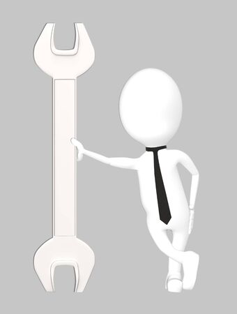 3d white character leading his hand towards a wrench-grey background- 3d rendering Imagens - 134048585