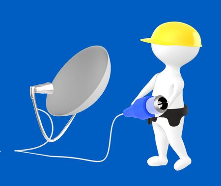 3d character , man character wearing safety cap and holding a cable pin connected towards a dish antenna- blue  background - 3d rendering