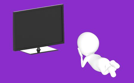 3d white character lying on floor and watching television -purple background- 3d rendering