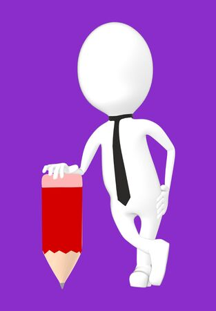 3d white character with a pencil -purple background- 3d rendering