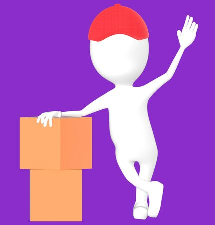 3d white character wearing a cap and presenting cardboard boxes -purple background- 3d rendering