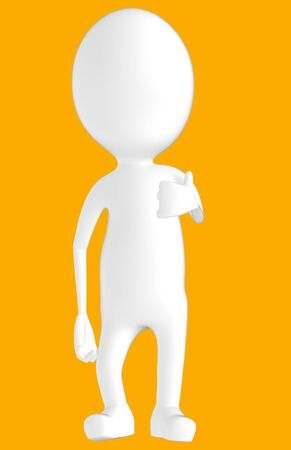 3d white character showing thumbs up hand gesture -orange background- 3d rendering
