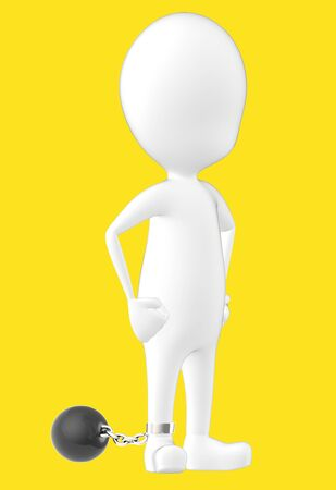 3d white character , leg tied to a weight -yellow background- 3d rendering Banco de Imagens