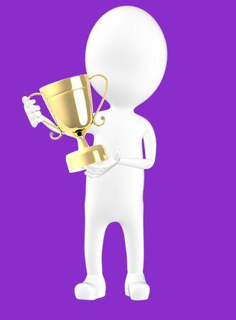 3d white character holding a trophy -purple background- 3d rendering Reklamní fotografie