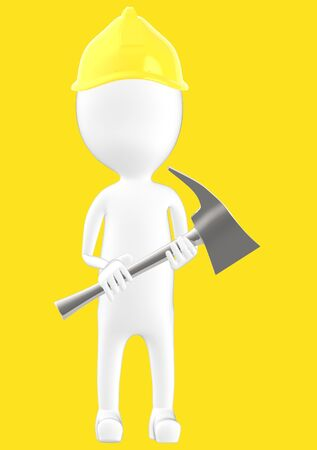 3d white character man wearing safety helmet and holding a axe -yellow background- 3d rendering