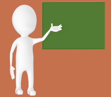3d white character , explaing,blank board -brown background- 3d rendering