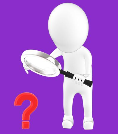 3d white character holding a magnifier in hands and looking question mark through it -purple background- 3d rendering