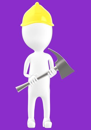 3d white character man wearing safety helmet and holding a axe -purple background- 3d rendering