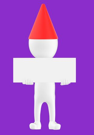 3d white character wearing a cone cap and holding a white empty board -purple background- 3d rendering Banco de Imagens