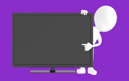 3d white character , pointing his hand towards television screen -purple background- 3d rendering