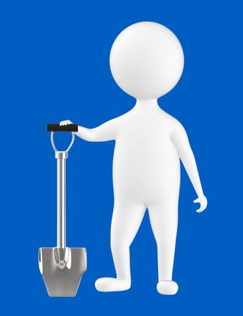 3d character , man and a shovel- blue  background - 3d rendering Imagens - 134048840