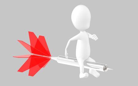 3d white character sitting on a dart , 3d rendering Reklamní fotografie
