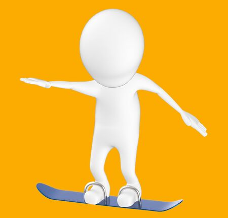 3d white character , snow skating -orange background- 3d rendering 스톡 콘텐츠