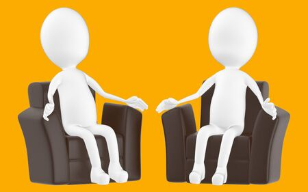3d white character , sitting in a sofa -orange background- 3d rendering Zdjęcie Seryjne