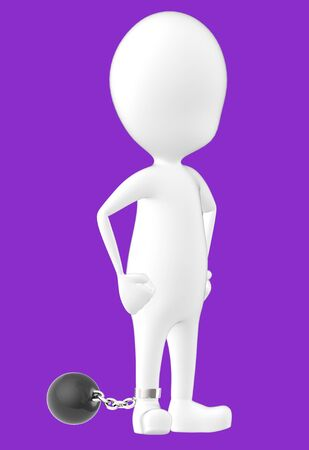 3d white character , leg tied to a weight -purple background- 3d rendering
