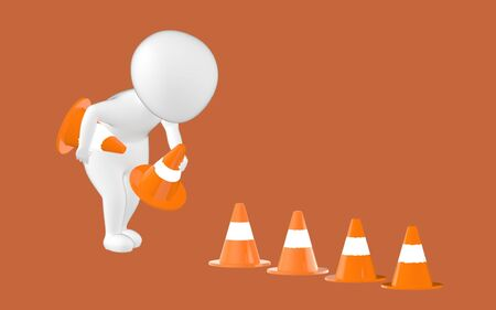 3d character , man putting in traffic cones- brown  background - 3d rendering