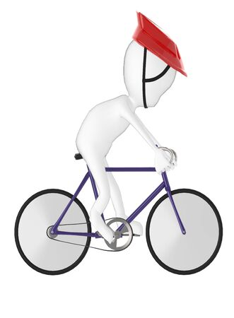 3d character , man bicyclist- 3d rendering