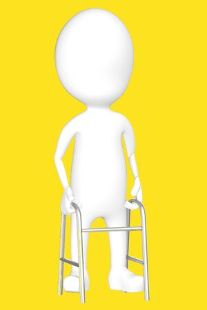 3d white character with cruches -yellow background- 3d rendering Imagens - 134048936