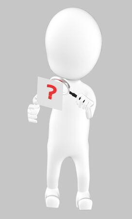 3d white character examining a question mark using a maginifier -grey background- 3d rendering