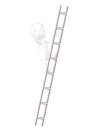 3d character , man falling high from a ladder- 3d rendering