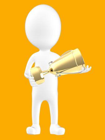 3d white character holding a golden trophy -orange background- 3d rendering Reklamní fotografie