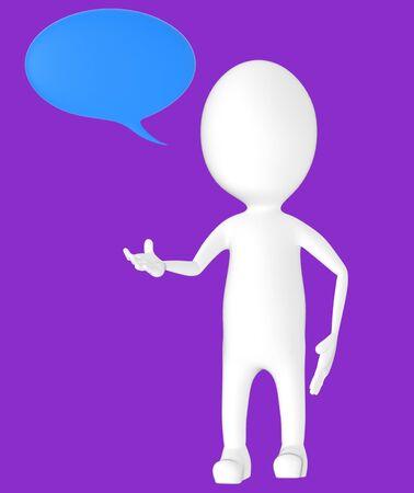 3d white character, speech bubble -purple background- 3d rendering
