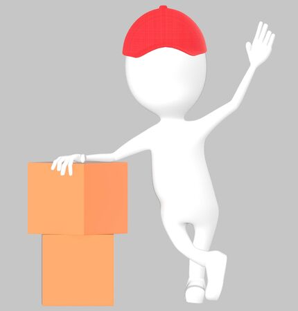 3d white character wearing a cap and presenting cardboard boxes -grey background- 3d rendering