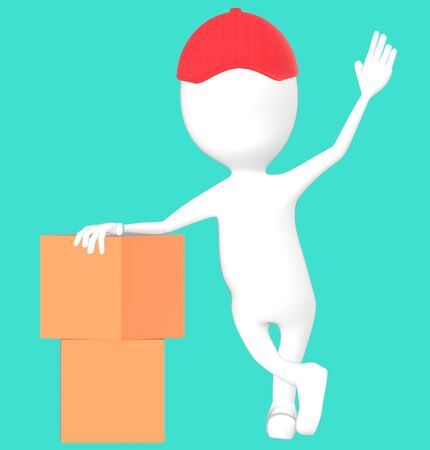3d white character wearing a cap and presenting cardboard boxes -turquoise background- 3d rendering Banco de Imagens